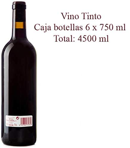 "Vino Tinto Cosechero ""Los Corzos"" Botellas 6 x 750 ml - Total: 4500 ml"