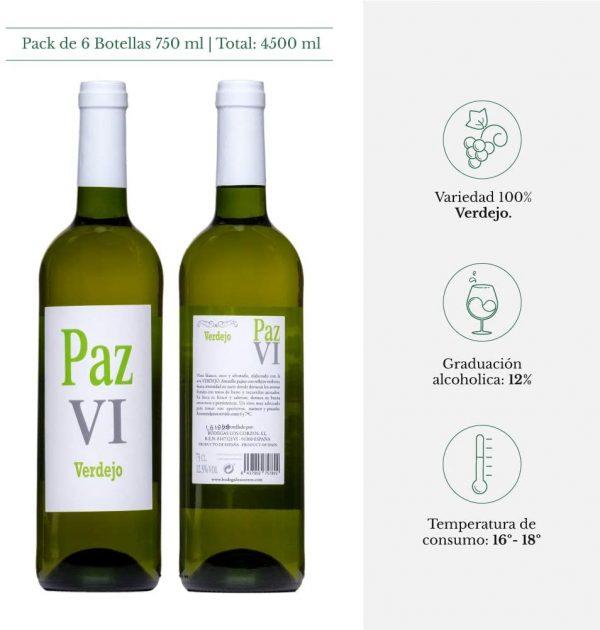 Vino Blanco Verdejo seco afrutado vino joven calidad suprema Paz VI