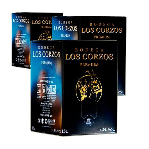 Lote de 15 cajas Vino Tinto PREMIUM Bag in Box 15 Litros